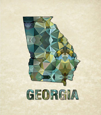 Cartography Painting - Polygon Mosaic Parchment Map Georgia by Elaine Plesser
