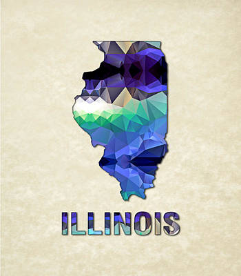 Cartography Painting - Polygon Mosaic Parchment Map Illinois by Elaine Plesser