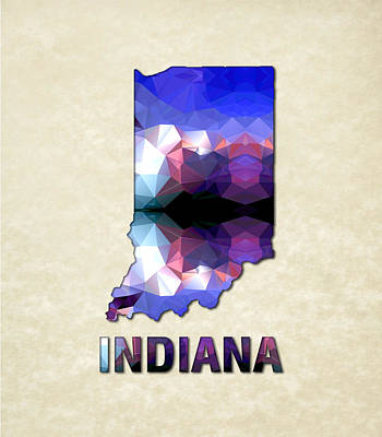 Cartography Painting - Polygon Mosaic Parchment Map Indiana by Elaine Plesser