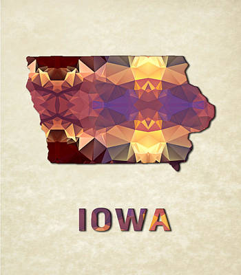 Cartography Painting - Polygon Mosaic Parchment Map Iowa by Elaine Plesser