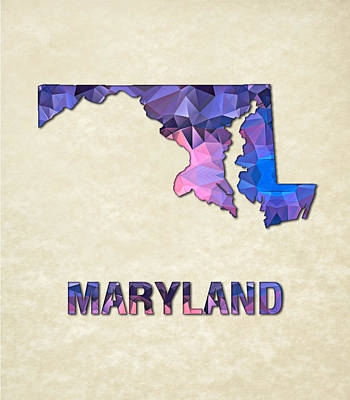 Cartography Painting - Polygon Mosaic Parchment Map Maryland by Elaine Plesser