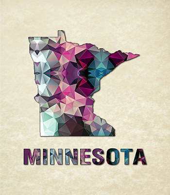 Cartography Painting - Polygon Mosaic Parchment Map Minnesota by Elaine Plesser