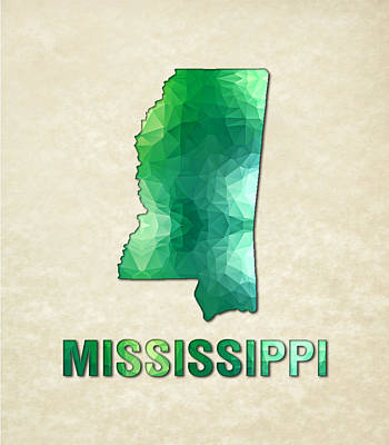 Cartography Painting - Polygon Mosaic Parchment Map Mississippi by Elaine Plesser