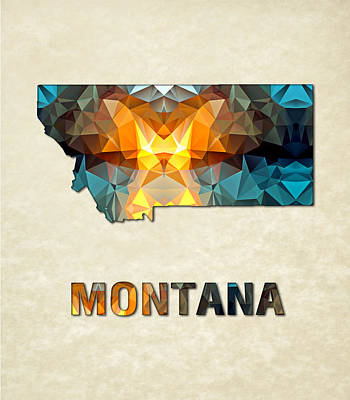 Cartography Painting - Polygon Mosaic Parchment Map Montana by Elaine Plesser