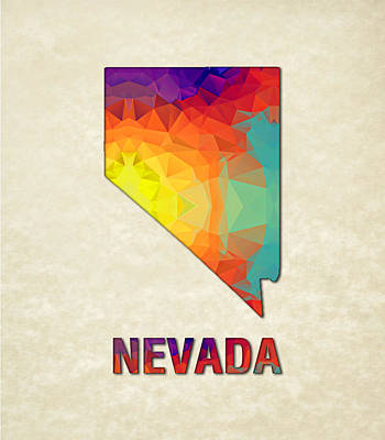 Cartography Painting - Polygon Mosaic Parchment Map Nevada by Elaine Plesser