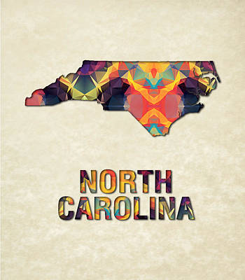 Cartography Painting - Polygon Mosaic Parchment Map North Carolina by Elaine Plesser