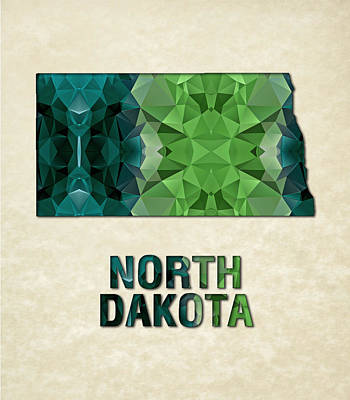 Dakota Painting - Polygon Mosaic Parchment Map North Dakota by Elaine Plesser