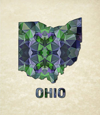 Ohio Painting - Polygon Mosaic Parchment Map Ohio by Elaine Plesser