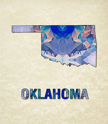 Cartography Painting - Polygon Mosaic Parchment Map Oklahoma by Elaine Plesser
