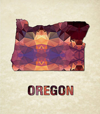 Oregon State Painting - Polygon Mosaic Parchment Map Oregon by Elaine Plesser
