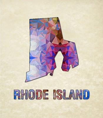 Polygon Mosaic Parchment Map Rhode Island Art Print by Elaine Plesser