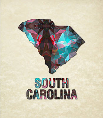 Cartography Painting - Polygon Mosaic Parchment Map South Carolina by Elaine Plesser