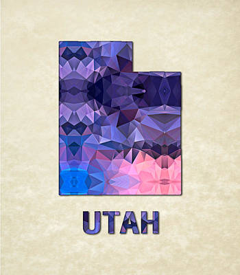 Cartography Painting - Polygon Mosaic Parchment Map Utah by Elaine Plesser