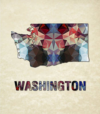 Cartography Painting - Polygon Mosaic Parchment Map Washington by Elaine Plesser