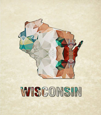 Cartography Painting - Polygon Mosaic Parchment Map Wisconsin by Elaine Plesser