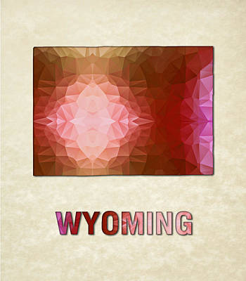 Cartography Painting - Polygon Mosaic Parchment Map Wyoming by Elaine Plesser