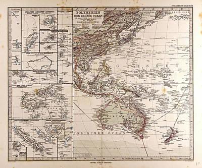 Oceania Drawing - Polynesia Oceania Gotha Justus Perthes 1872 Atlas by English School