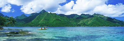 Canoe Photograph - Polynesian People Rowing A Yellow by Panoramic Images