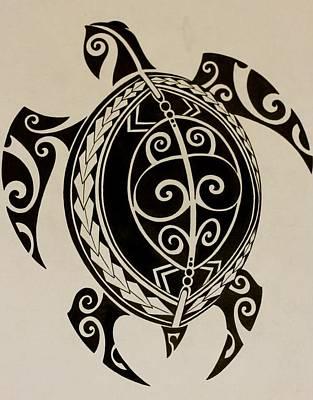 Puravida Mixed Media - Polynesian Turtle by MarceloSouza TattoosnGraphx