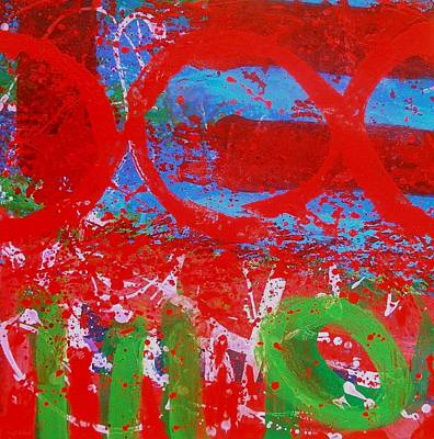 Red Abstract Painting - Polyphony I by John  Nolan