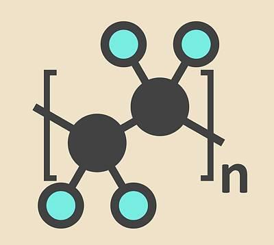 Polytetrafluoroethylene Polymer Molecule Art Print by Molekuul