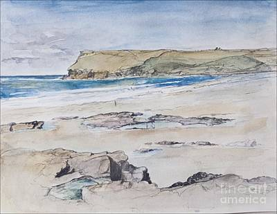 Cornish Wall Art - Painting - Polzeath And Pentire Head by Caroline Hervey-Bathurst