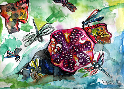 Metal Dragonfly Painting - Pomegranate And Dragonflies by Genevieve Esson