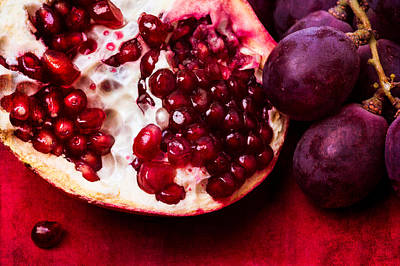 Pomegranate And Red Grapes Art Print by Alexander Senin