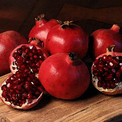 California Watercolor Artists Painting - Pomegranate by Cole Black