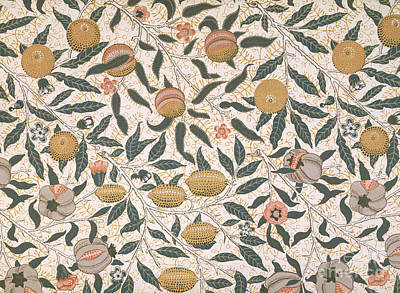 Line Movement Wall Art - Painting - Pomegranate Design For Wallpaper by William Morris