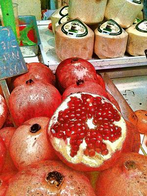 Photograph - Pomegranates In Open Market by Lesa Fine