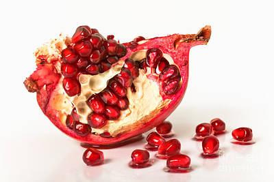 Pomegranate On A White Background With Grains Original by Sviatlana Kandybovich