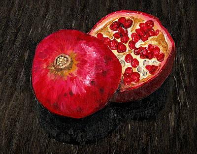 Wall Art - Painting - Pomegranate Sliced Oil Painting by