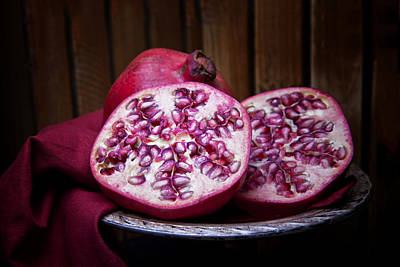 Fabric Photograph - Pomegranate Still Life by Tom Mc Nemar
