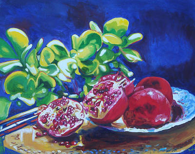 Sewing Room Painting - Pomegranates And Jade by Susan Duda