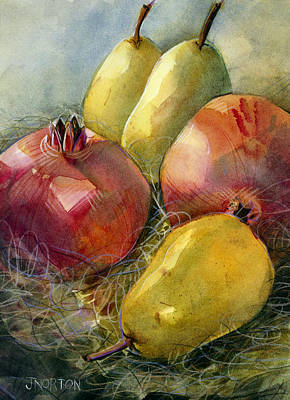 Food And Flowers Still Life Rights Managed Images - Pomegranates and Pears Royalty-Free Image by Jen Norton