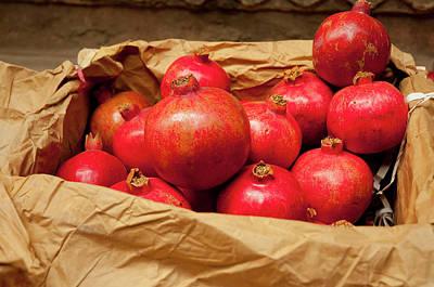 Paper Bag Photograph - Pomegranates For Sale, Old Delhi by Inger Hogstrom