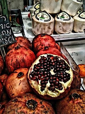 Mixed Media - Pomegranates In Open Market Art II by Lesa Fine