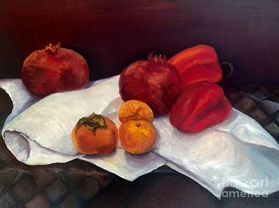 Painting - Pomegranates  by Irene Pomirchy