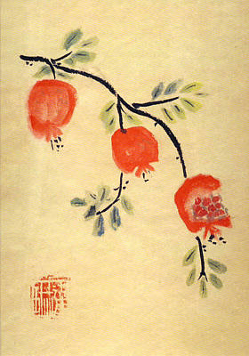 Art Print featuring the painting Pomegranates by Linda Feinberg
