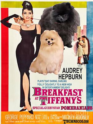 Painting - Pomeranian Art Canvas Print - Breakfast At Tiffany Movie Poster by Sandra Sij