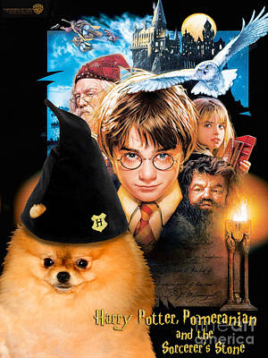 Dog Poster Painting - Pomeranian Art Canvas Print - Harry Potter Movie Poster by Sandra Sij