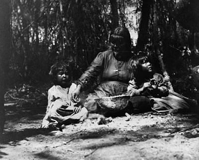 Indian Basket Photograph - Pomo Woman & Children by Granger