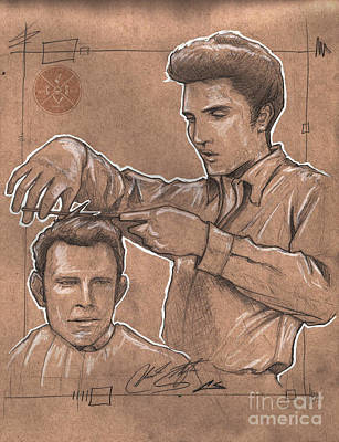 Elvis Presley Drawing - Pompadour King by The Barber Gallery