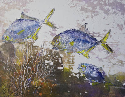 Gyotaku Mixed Media - Pompano Trio by Nancy Gorr
