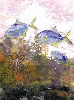 Fish Rubbing Mixed Media - Pompano Trio_verticle by Nancy Gorr