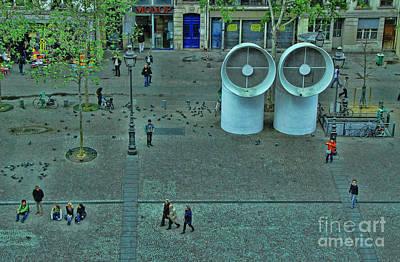 Photograph - Pompidou Center Courtyard 1 by Allen Beatty