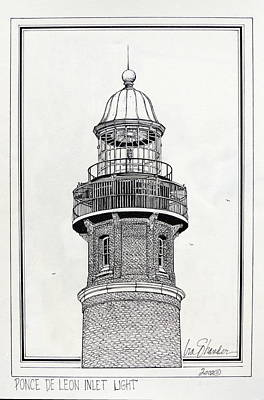 Lighthouse Drawing - Ponce De Leon Inlet Lighthouse by Ira Shander