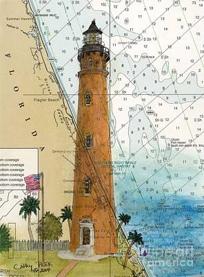 Ponce Inlet Lighthouse Fl Nautical Chart Map Art Cathy Peek Art Print by Cathy Peek