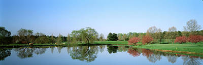 Pond At A Golf Course, Towson Golf And Art Print